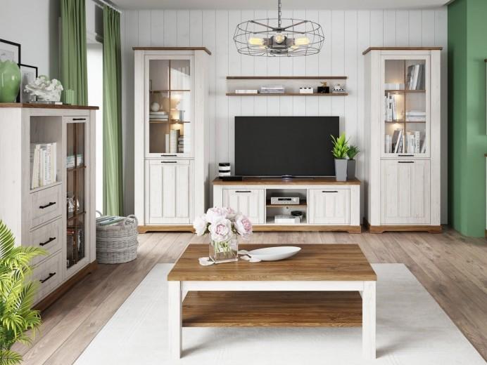 Set de mobila living din pal, 6 piese Country Alb / Stejar