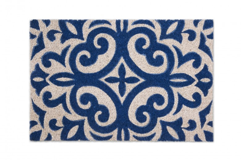 Covoras de intrare, din fibre de cocos si PVC, 40 x 60 cm, Boheme Bleu