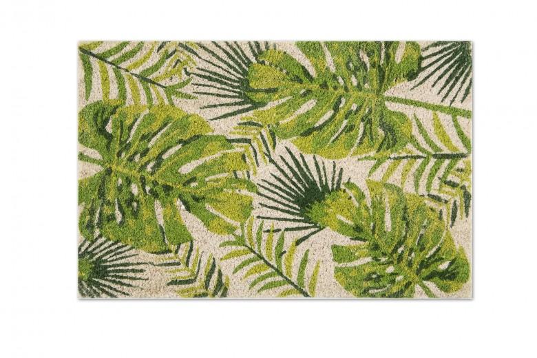 Covoras de intrare, din fibre de cocos si PVC, 40 x 60 cm, Foliage Verde