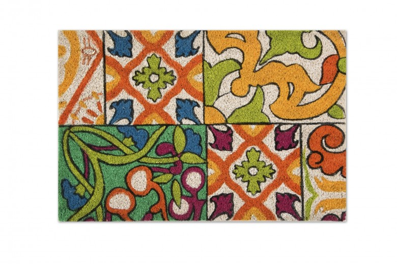 Covoras de intrare, din fibre de cocos si PVC, 40 x 60 cm, Lisbona Multicolor