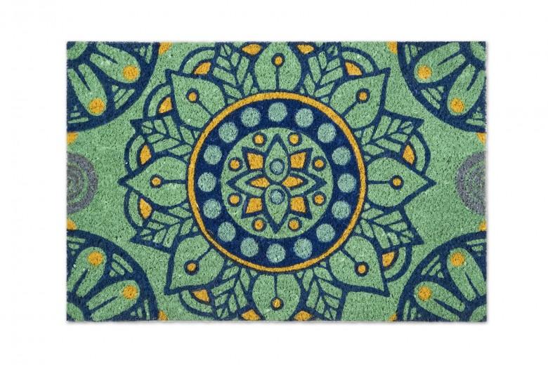 Covoras de intrare, din fibre de cocos si PVC, 40 x 60 cm, Mandala Mediteraneo Turcoaz