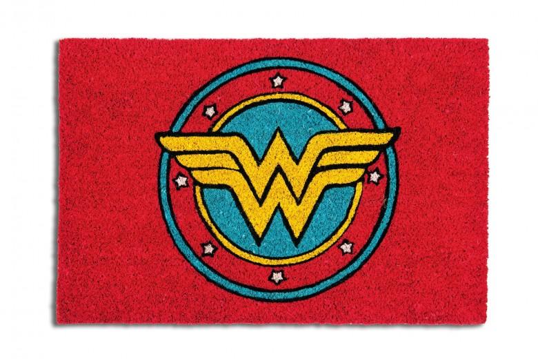Covoras de intrare, din fibre de cocos si PVC, 40 x 60 cm, Superhero Wonder Woman