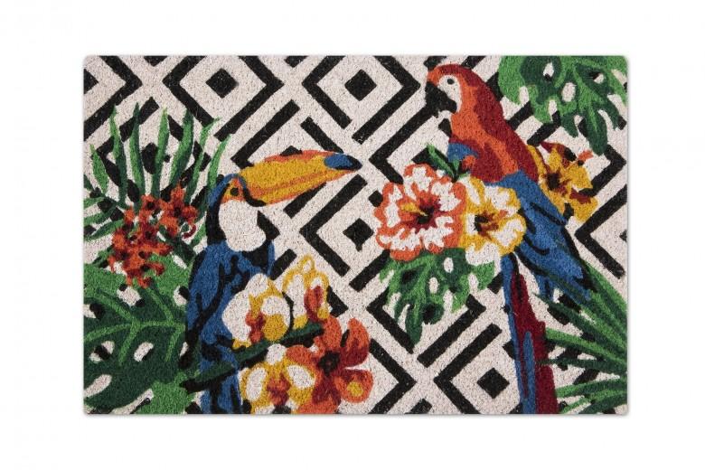 Covoras de intrare, din fibre de cocos si PVC, 40 x 60 cm, Tropical Multicolor