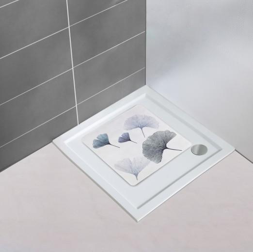 Covoras pentru baie antiderapant, din TPR, Ginkgo Multicolor, 54 x 54 cm