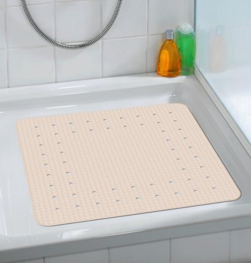 Covoras pentru baie antiderapant, din TPR, Mirasol Bej, 54 x 54 cm