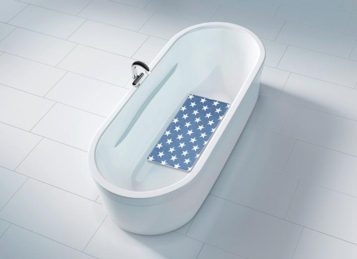 Covoras pentru baie antiderapant, din TPR, Stella Albastru, 40 x 70 cm