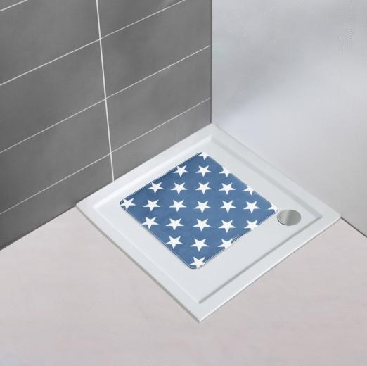 Covoras pentru baie antiderapant, din TPR, Stella Albastru, 54 x 54 cm