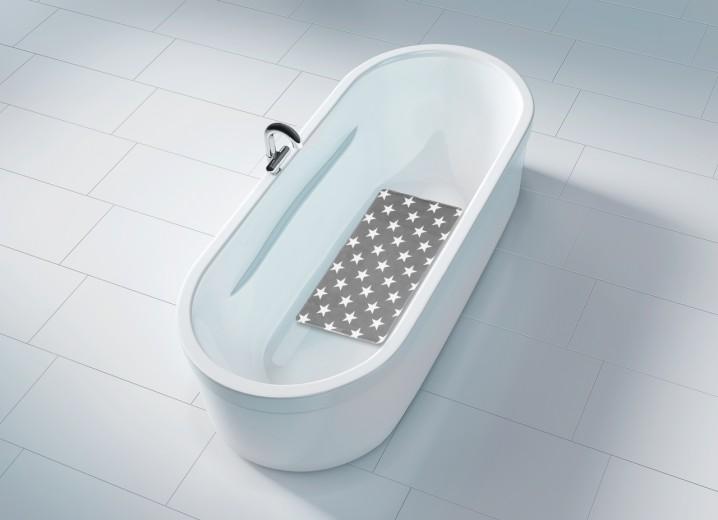 Covoras pentru baie antiderapant, din TPR, Stella Gri, 40 x 70 cm