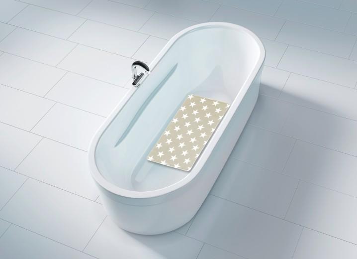 Covoras pentru baie antiderapant, din TPR, Stella Taupe, 40 x 70 cm