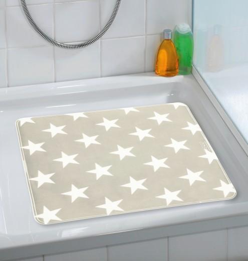 Covoras pentru baie antiderapant, din TPR, Stella Taupe, 54 x 54 cm