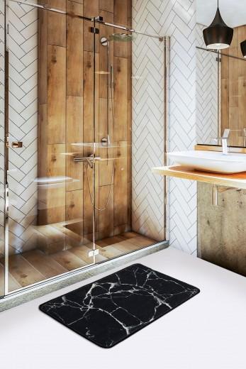 Covoras pentru baie Marble Negru, 40 x 60 cm