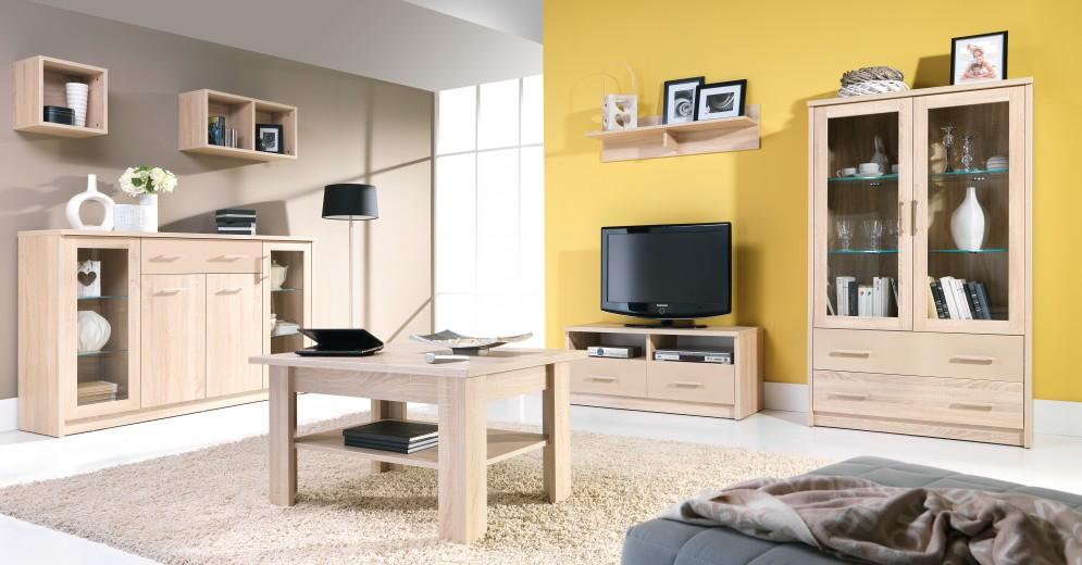 Set de mobila living din pal, 3 piese Cremona Sonoma Oak
