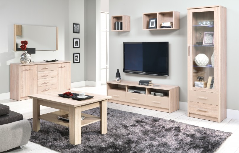 Set de mobila living din pal, 4 piese Cremona II Sonoma Oak