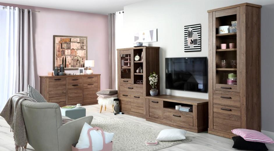 Set de mobila living din pal, 4 piese Cristal Oak
