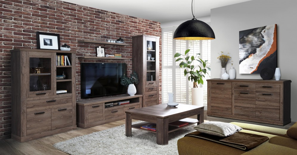 Set de mobila living din pal, 7 piese Cristal Oak