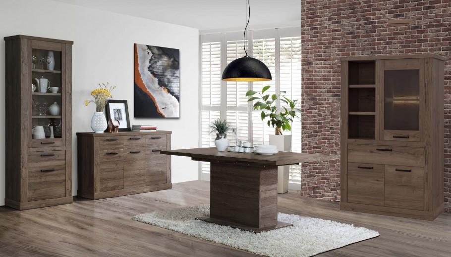Set de mobila dining din pal, 4 piese Cristal Oak