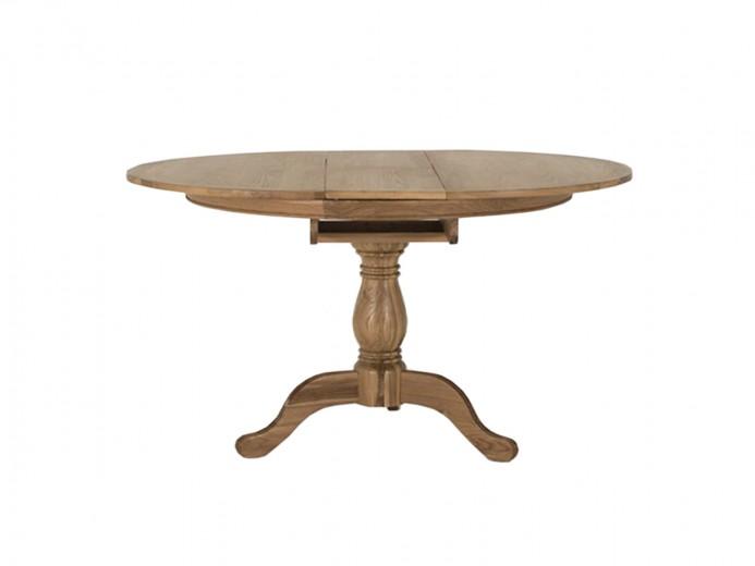 Masa extensibila din lemn de stejar si furnir Carmen Round Oak, L112-142xl112xH77 cm