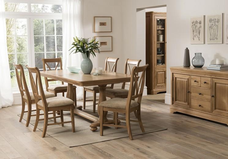 Masa extensibila din lemn de stejar si furnir Carmen Oak, L180-230xl100xH75,5 cm