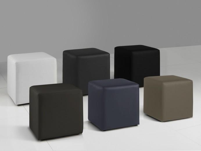 Taburet tapitat cu piele ecologica Cube Negru, l40xA40xH45 cm