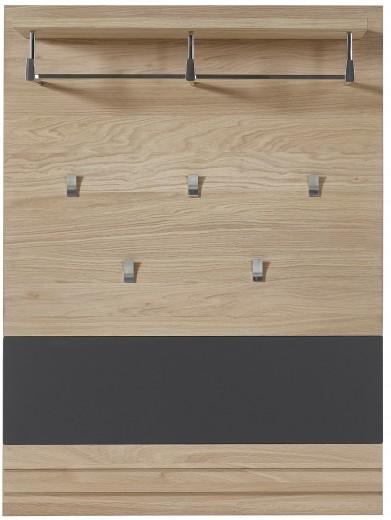 Cuier cu sina si etajera din pal si MDF, Archi Natur / Grafit, l85xA28xH116 cm