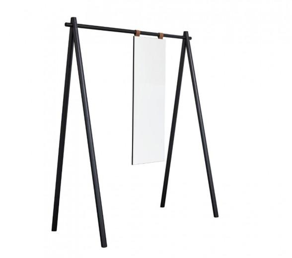 Cuier din lemn de pin, cu oglinda Hongi Black, l150xA74xH177 cm