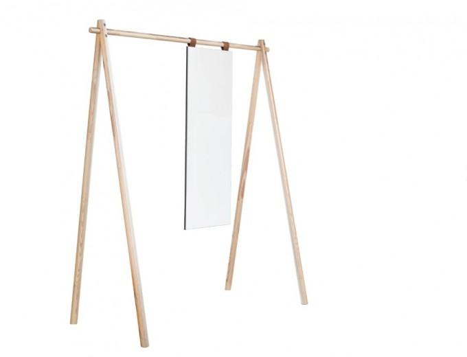 Cuier din lemn de pin, cu oglinda Hongi Natural, l150xA74xH177 cm