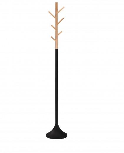 Cuier din lemn si metal W58 Natural / Negru, Ø28xH176 cm