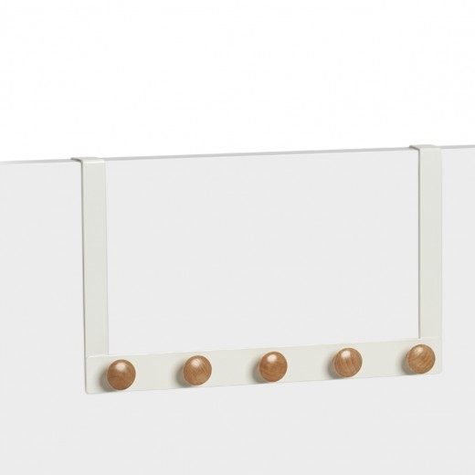 Cuier pentru usa, din metal si lemn, Scandi Alb, l41xA5xH25 cm