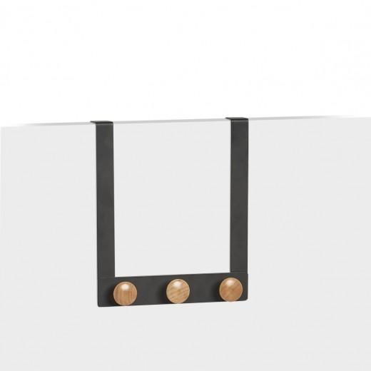 Cuier pentru usa, din metal si lemn, Scandi Negru, l24,5xA5xH25 cm