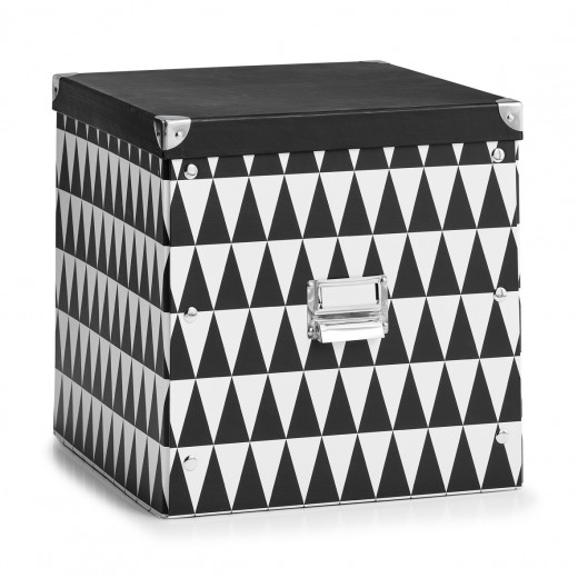Cutie decorativa pentru depozitare, din carton, Triangle Alb / Negru, L33,5xl33xH32 cm