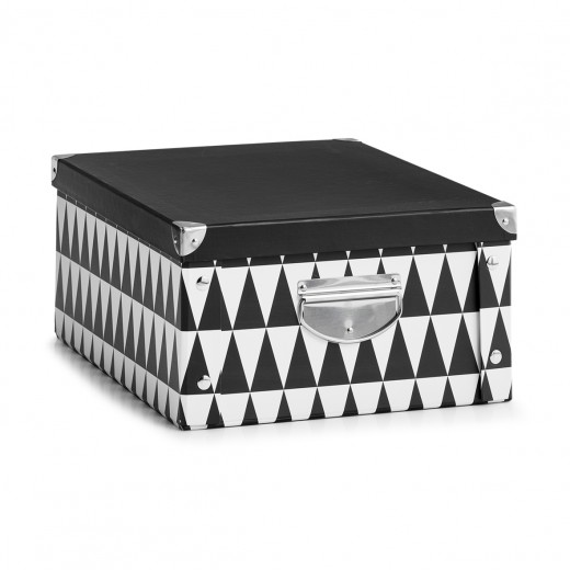 Cutie decorativa pentru depozitare, din carton, Triangle Alb / Negru, L40xl33xH17 cm
