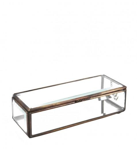 Cutie pentru depozitare din sticla si metal Box Aramiu, L20xl7xH5 cm