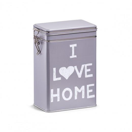 Cutie metalica pentru cafea Love Home, cu capac etans, Grey, l12xA7,7xH19 cm