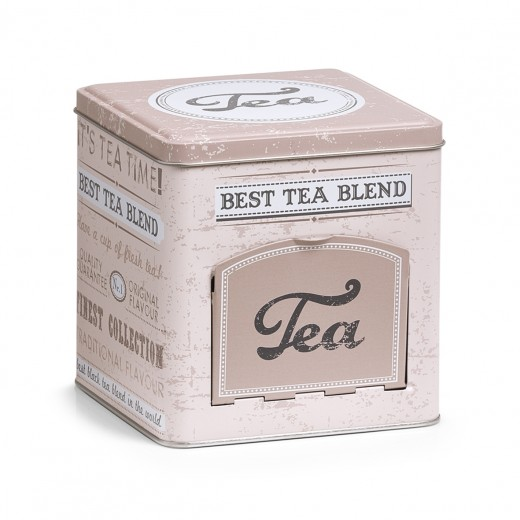 Cutie metalica pentru ceai Tea, cu capac, Multicolor, l13xA13xH13,6 cm