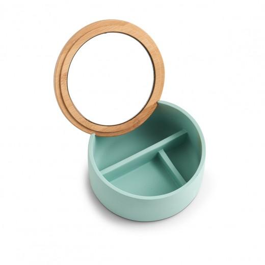 Cutie pentru cosmetice din polirasina, cu oglinda, Pastel Mint, Ø 13,3xH6,5 cm
