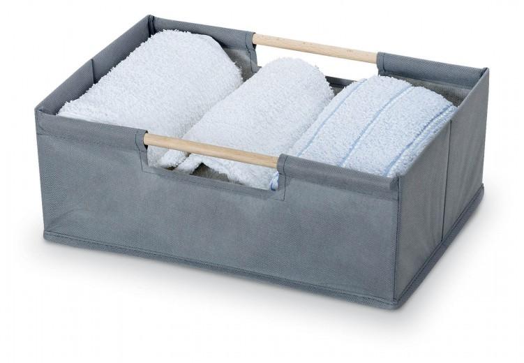 Cutie pentru depozitare din carton si lemn, Cesto Gri / Maro, Modele Asortate, L34xl24xH13 cm