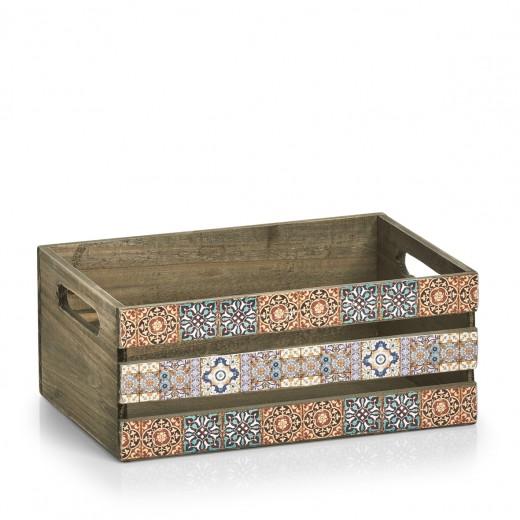 Cutie pentru depozitare din lemn Mosaic Multicolor, L32xl22xH13,5 cm