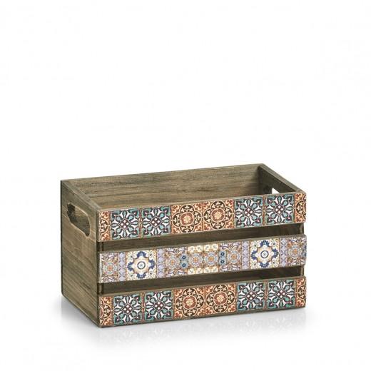 Cutie pentru depozitare din lemn Mosaic Small Multicolor, L24xl14xH13,5 cm