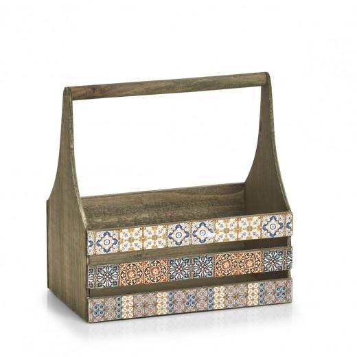 Cutie pentru depozitare din lemn Mosaic Tall Multicolor, L31xl19xH32 cm