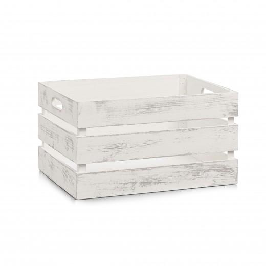 Cutie pentru depozitare din lemn, Vintage Large Alb, L39xl29xH21 cm
