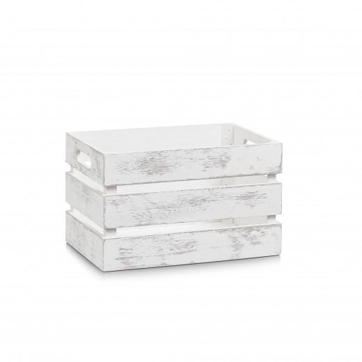 Cutie pentru depozitare din lemn, Vintage Small Alb, L31xl21xH18,7 cm