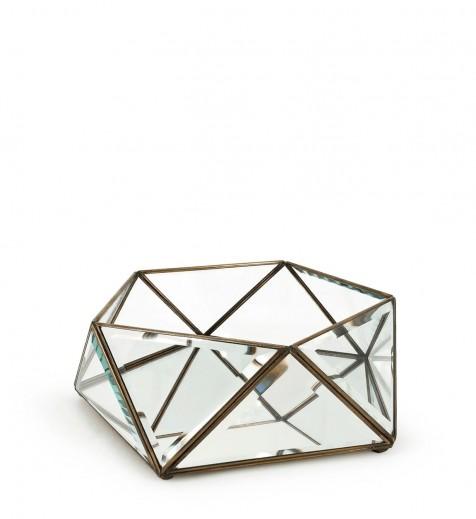 Cutie pentru depozitare din sticla si metal Box Pentagonal, L27xl26xH10 cm