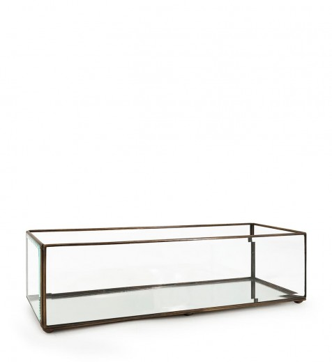 Cutie pentru depozitare din sticla si metal Box Rectangular, L40xl10xH10 cm