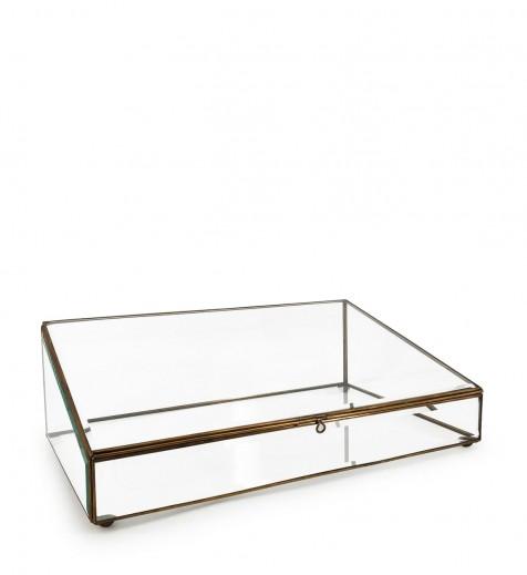 Cutie pentru depozitare din sticla si metal Box Trapeze, L45xl28xH14 cm