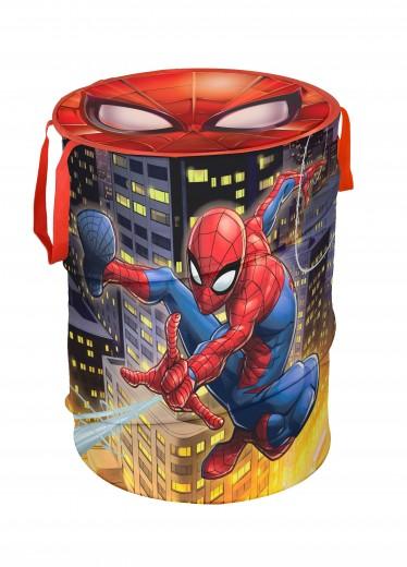 Cutie pentru depozitare jucarii, Spiderman Round Rosu, Ø38xH50 cm