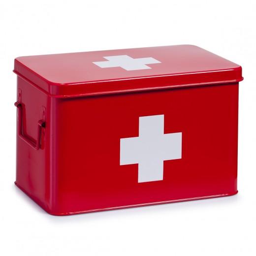 Cutie pentru depozitarea medicamentelor, 5 compartimente, Metal Red, l32xA19,5xH20 cm