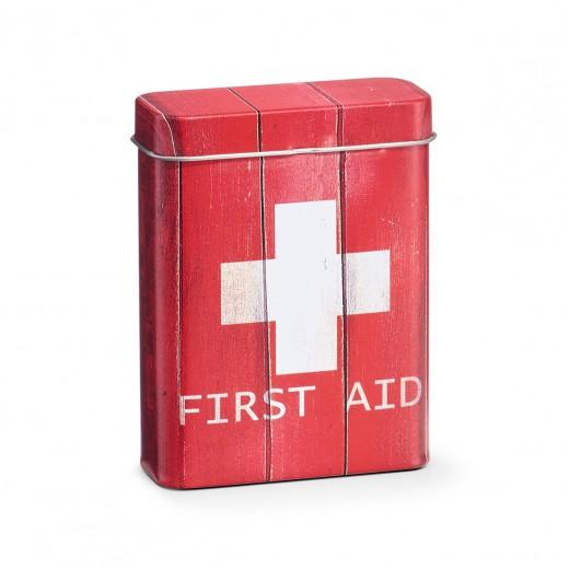 Cutie pentru depozitarea medicamentelor, First Aid, Metal Red, l7,1xA2,8xH9,4 cm