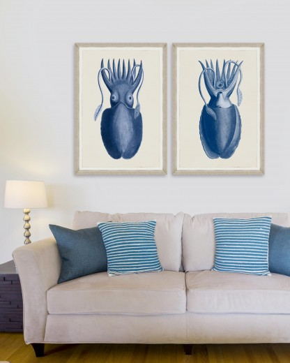 Tablou 2 piese Framed Art Cuttlefish On Blue