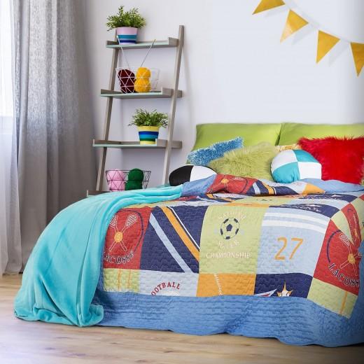 Cuvertura pat copii Baseball Multicolour, 170 x 210 cm
