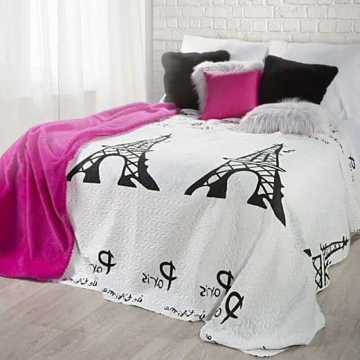 Cuvertura pat copii France White / Black, 170 x 210 cm